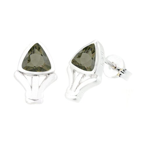 Trillion Cut Smoky Quartz Earrings Sterling Silver