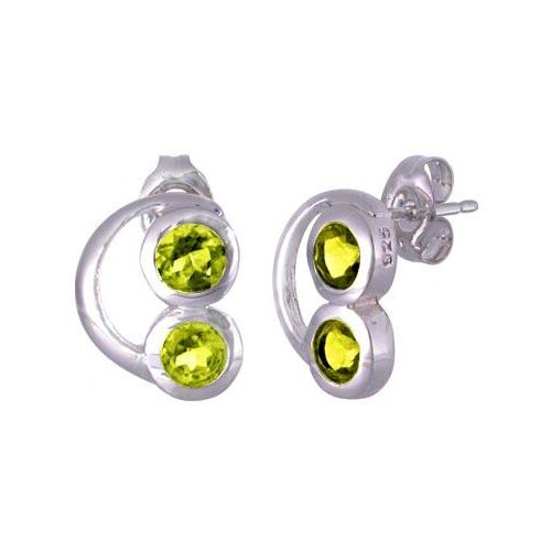 Oravo Round Cut Peridot Earrings Sterling Silver
