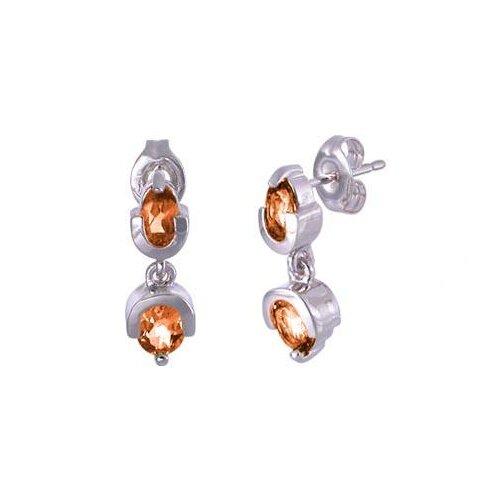 Oval Cut Citrine Drop Earrings Sterling Silver