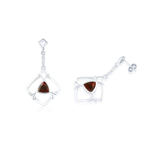Trillion Cut Garnet Dangling Earrings Sterling Silver