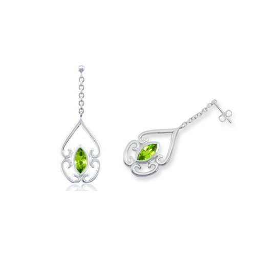 Marquise Cut Peridot Dangling Earrings Sterling Silver