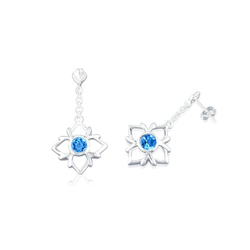 Round Cut Swiss Blue Topaz Dangling Earrings Sterling Silver