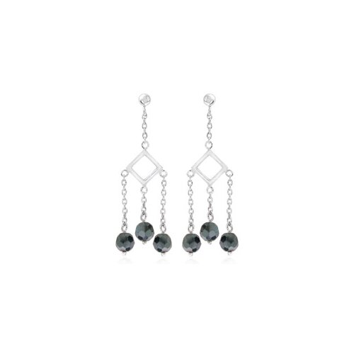 Round Hematite Bead Chandelier Earrings Sterling Silver