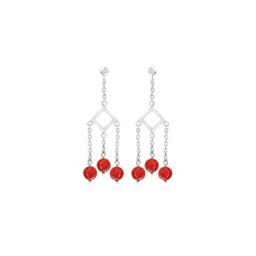 Round Coral Red Bead Chandelier Earrings Sterling Silver