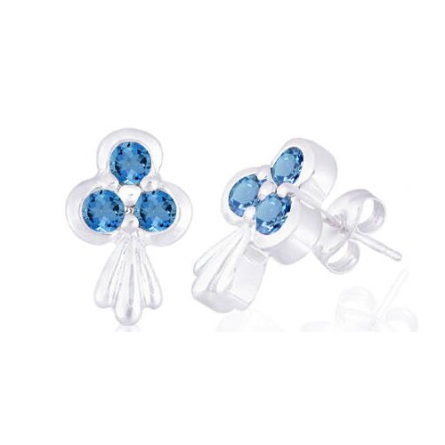 Round Cut London Blue Topaz Three-Stone Earrings Sterling Silver