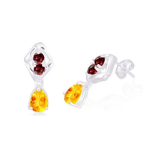 Oravo Pear Round Cut Citrine Garnet Drop Earrings Sterling Silver