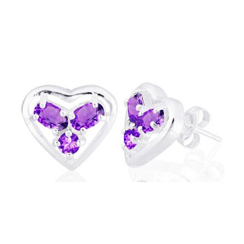 Oval Round Cut Amethyst Three Stone Heart Earrings Sterling Silver