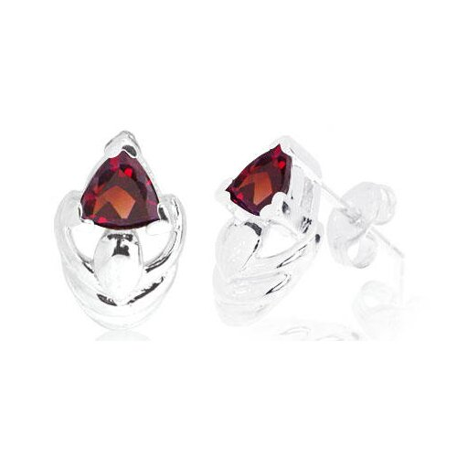 Trillion Cut Garnet Earrings Sterling Silver