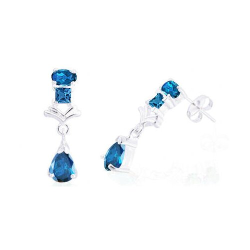Oravo Multicut London Blue Topaz Three-Stone Dangling Earrings Sterling Silver