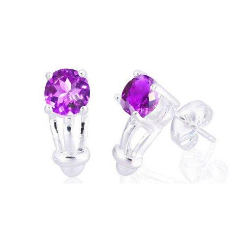 Oravo Round Cut Gemstone Earrings Sterling Silver