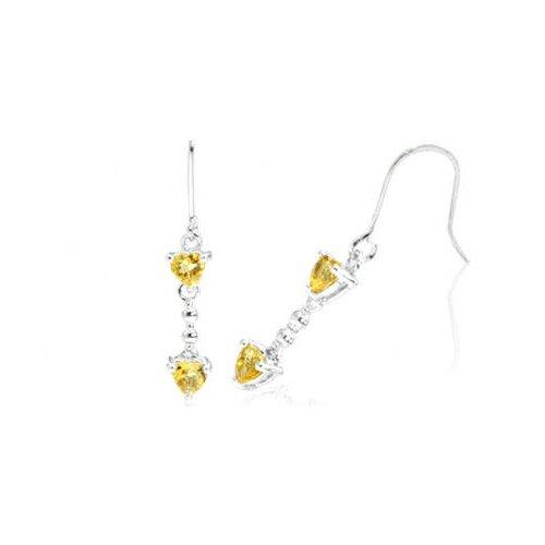Heart Cut Gemstone Dangling Earrings Sterling Silver