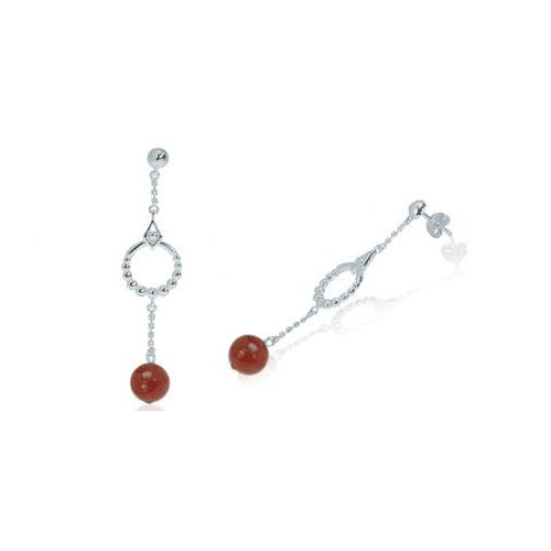Oravo Round Carnelian Bead Dangling Earrings Sterling Silver