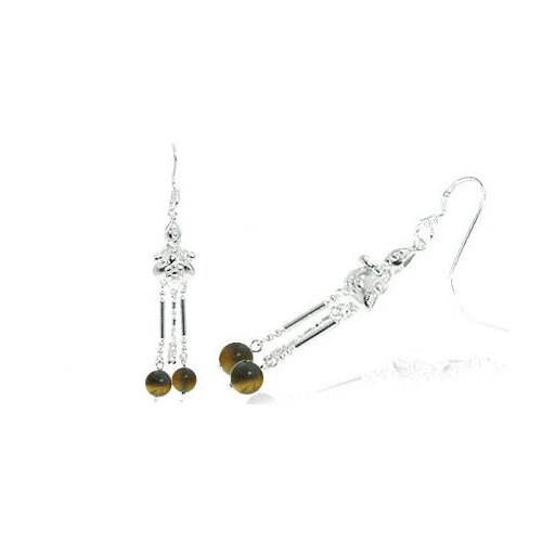 Round Tigereye Bead Chandelier Earrings Sterling Silver