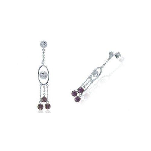 Round Amethyst Bead Chandelier Earrings Sterling Silver