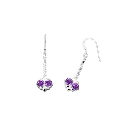 Oravo Round Cut Amethyst Dangling Earrings in Sterling Silver