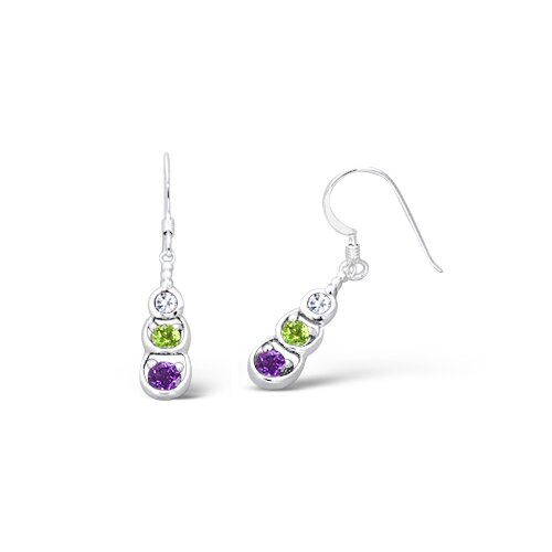 Oravo Round Cut Peridot Amethyst White Cz Three Stone Earrings in Sterling Silver