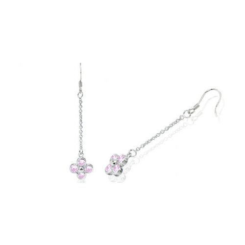 Round Cut Pink Cz dangling Flower Earrings in Sterling Silver