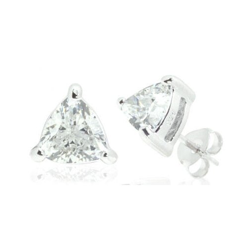 Trillion Cut White Cz Stud Earrings in Sterling Silver