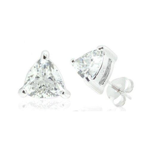 Trillion Cut White Cz Stud Earrings in Sterling Silver