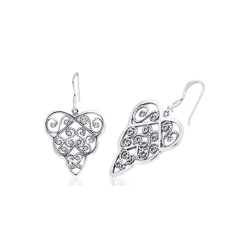 Dangling Heart Earrings in Sterling Silver