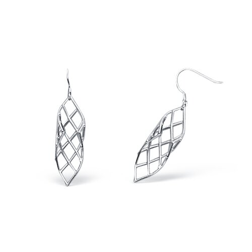 Mesh Style Dangling Wire Earrings in Satin Finish Sterling Silver