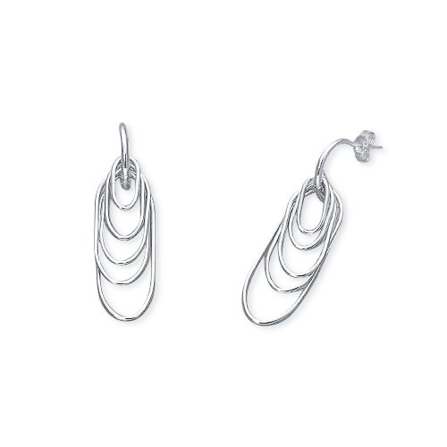 Oravo Dangling Pins J-Hoop Earrings in Sterling Silver