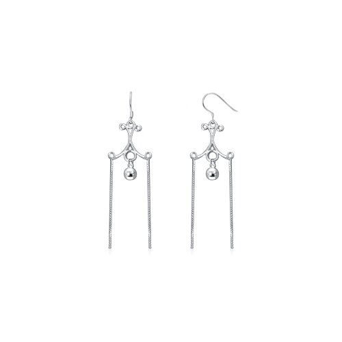 Dangling Ball and Chain Chandelier Earrings in Sterling Silver