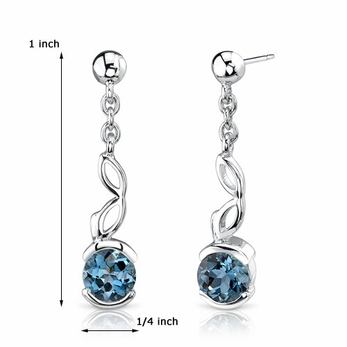 Oravo 2.00 Ct.T.W. Genuine Round London Blue Topaz in Sterling Silver Earrings