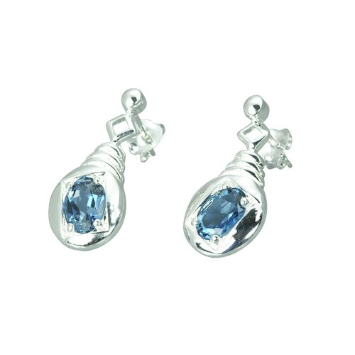 Oravo 2.00 Ct.T.W. Genuine Oval Shape London Blue Topaz Earrings in Sterling Silver