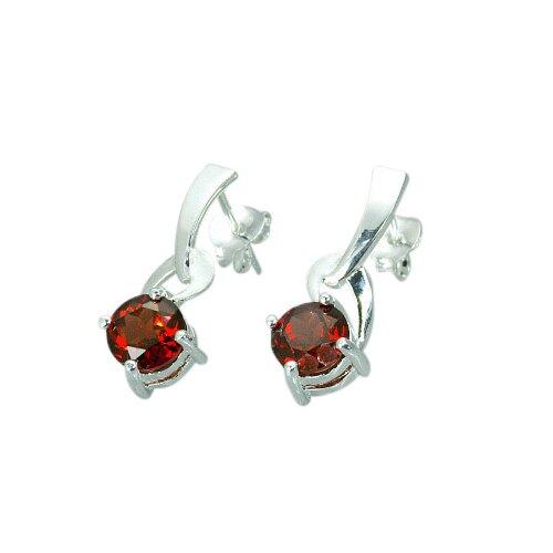 Oravo 2.00 Ct.T.W. Genuine Round Garnet Earrings in Sterling Silver