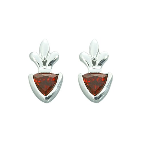 Oravo 2.00 Ct.T.W. Genuine Trillion Cut Garnet Earrings in Sterling Silver