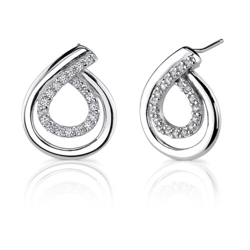 Sweet Elegance Designer Inspired Teardrop Style Cubic Zirconia Post Earrings in Sterling Silver