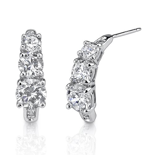 Timeless Style Celebrity Inspired Bridal Style 3-Stone Jewelry Cubic Zirconia Earrings in ...