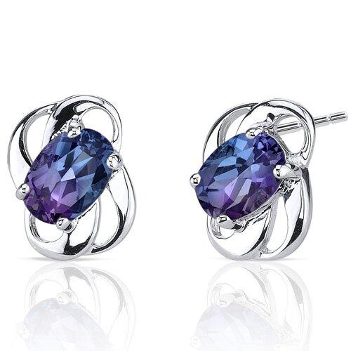 Classy 2.00 Carats Alexandrite Earrings in Sterling Silver