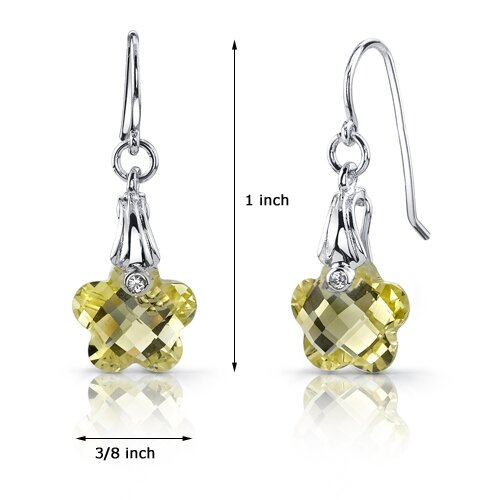 Oravo Blooming Flower Cut 6.50 Carats Lemon Quartz Fishhook Earrings in Sterling Silver