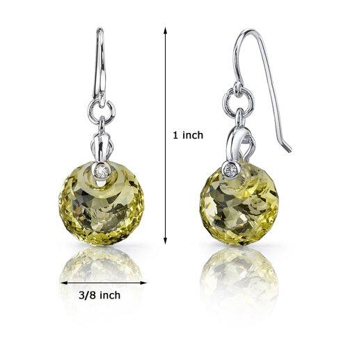 Oravo Spherical Cut 7.50 Carats Lemon Quartz Fishhook Earrings in Sterling Silver