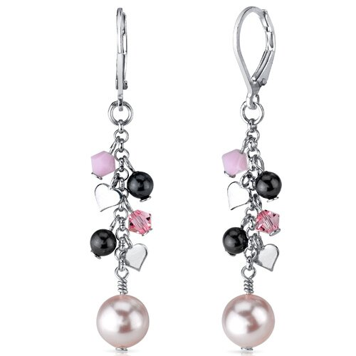 Vision of Love Drop Earrings with s and Cultured Pearls Heart Motif in Sterling Silver ...