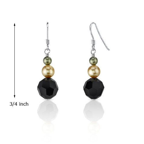 Oravo Black Orchid s and Cultured Pearls Cascade Drop Earrings in Sterling Silver with Swarovski Elements