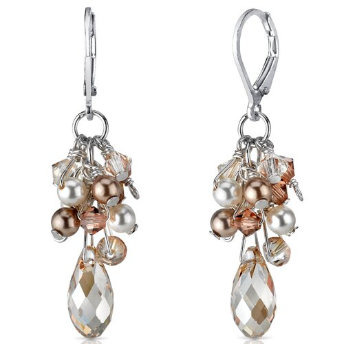 Oravo Champagne On Ice s and Cultured Pearls Drop Earrings in Sterling Silver with Swarovski Elements