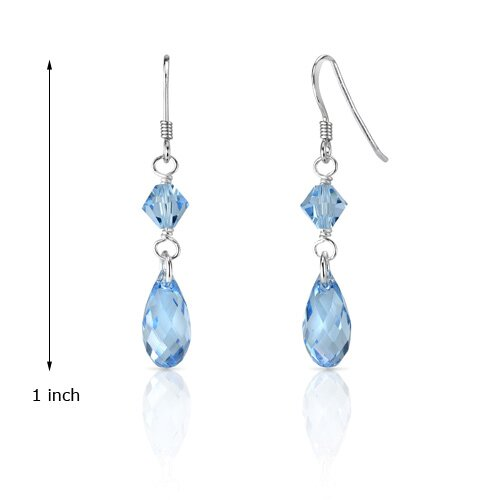 Oravo Ice Queen Ice Blue s and Dangle Drop Earrings in Sterling Silver with Swarovski Elements