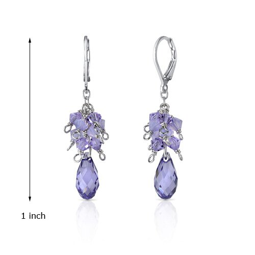 Oravo Purple Majesty s Cascade Drop Earrings in Sterling Silver with Swarovski Elements