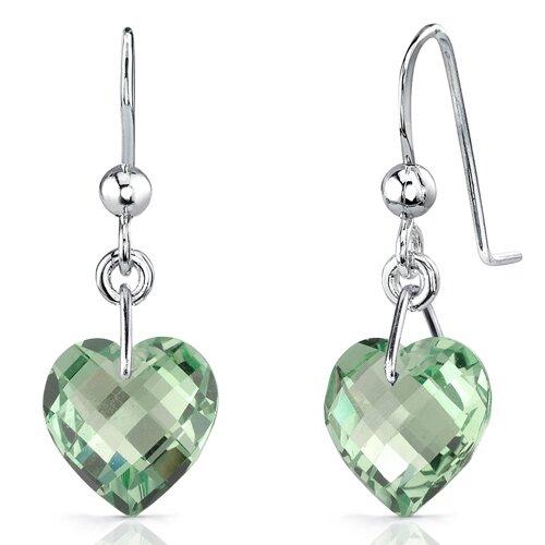 Oravo Extraordinary Heart Shape Genuine Gemstone Earrings in Sterling Silver