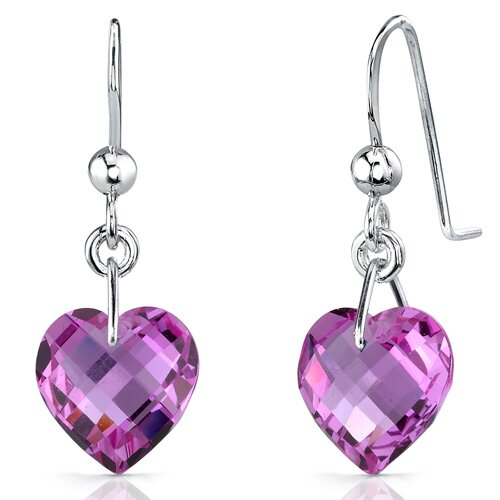 Extraordinary 9.75 carats Heart Shape Pink Sapphire earrings in Sterling Silver