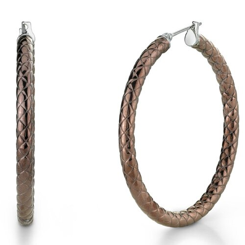 Oravo Metallic Brown Color 30mm Diameter Crisscross Pattern Hoop Earrings in Stainless Steel