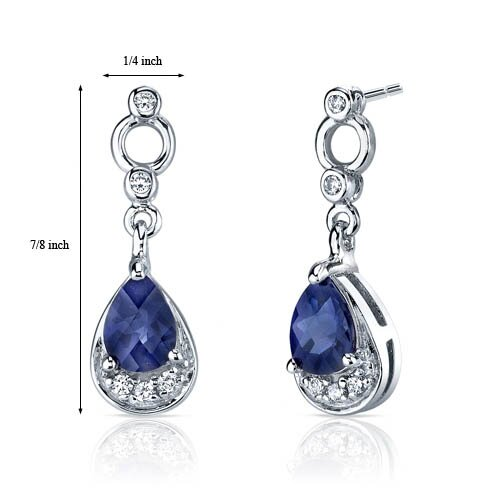 Oravo Simply Classy 2.00 Carats Blue Sapphire Dangle Earrings in Sterling Silver