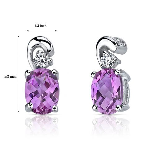 Oravo Sleek and Radiant 2.00 Carats Pink Sapphire Earrings in Sterling Silver