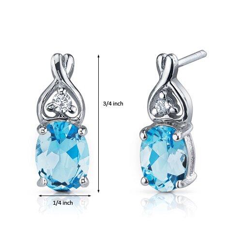 Oravo Classy Style 2.50 Carats Swiss Blue Topaz Oval Cut Cubic Zirconia Earrings in Sterling Silver