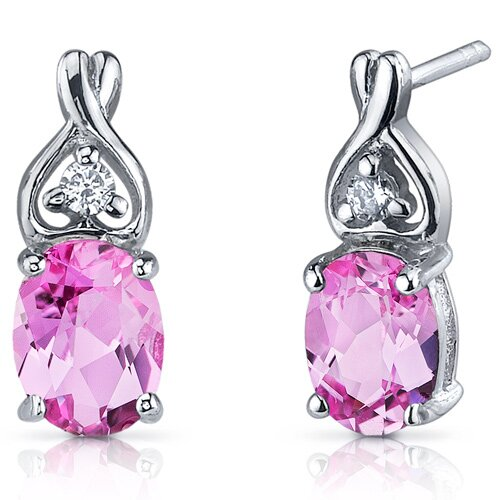 Oravo Classy Style 3.50 Carats Pink Sapphire Oval Cut Cubic Zirconia Earrings in Sterling Silver