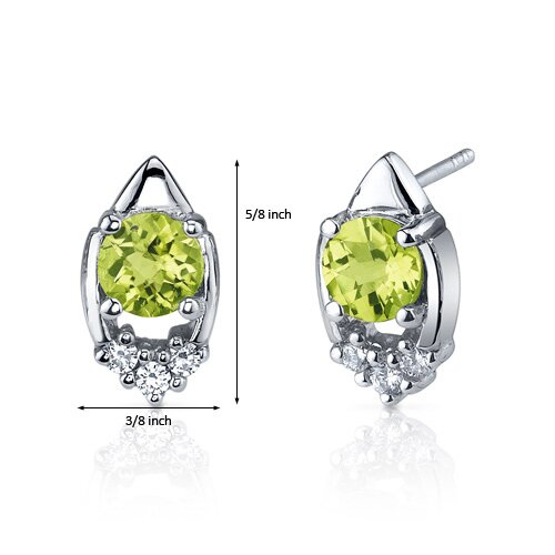 Oravo Majestic Charm 1.50 Carats Peridot Round Cut Cubic Zirconia Earrings in Sterling Silver