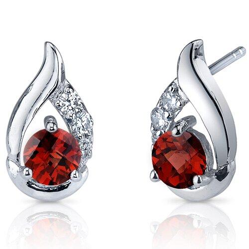 Oravo Radiant Teardrop 1.50 Carats Garnet Round Cut Cubic Zirconia Earrings in Sterling Silver